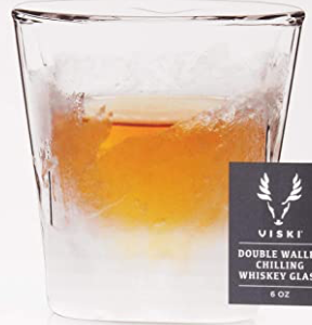 Viski Raye Double Walled Chilling Whiskey Glass, 8 oz