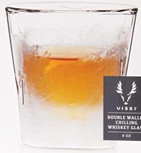 Viski Raye Double Walled Chilling Whiskey Glass, 8 oz